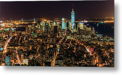 Metal Print featuring the photograph Lower Manhattan At Night 2 by Chris McKenna