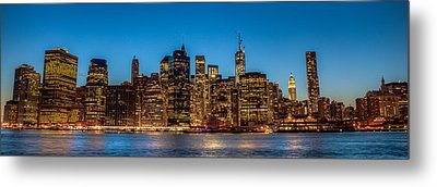 Metal Print featuring the photograph Lower Manhattan At Night by Chris McKenna