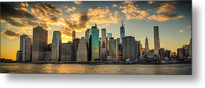 Metal Print featuring the photograph Lower Manhattan Sunset 3-1 by Chris McKenna