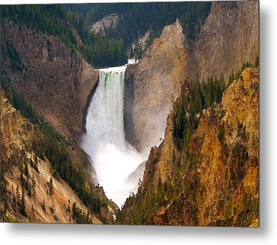 Metal Print featuring the photograph Lower Yellowstone Falls by Eric Tressler