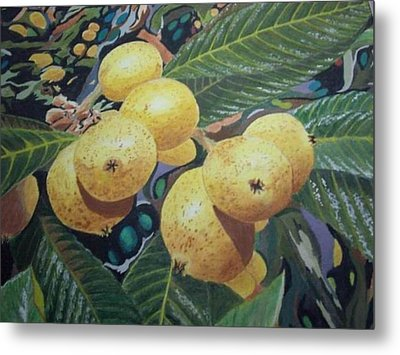 Metal Print featuring the painting Lowquats 2 by Hilda and Jose Garrancho