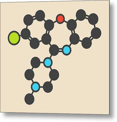 Loxapine Antipsychotic Drug Molecule Metal Print by Molekuul