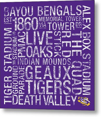 Lsu College Colors Subway Art Metal Print by Replay Photos