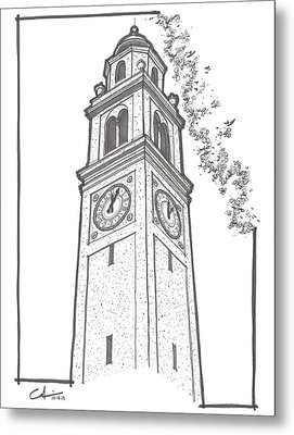 Metal Print featuring the drawing Lsu Memorial Bell Tower by Calvin Durham