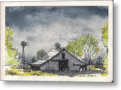 Metal Print featuring the mixed media Lubbock County Barn by Tim Oliver