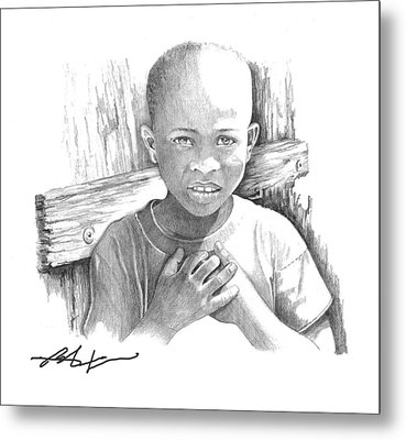 Metal Print featuring the drawing Luc by Bob Salo