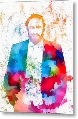 Luciano Pavarotti Paint Splatter Metal Print