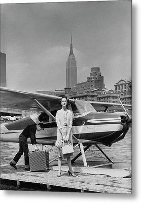Lucille Cahart With Small Plane In Nyc Metal Print by John Rawlings