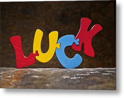 Luck Jigsaw Puzzle Painted Wood Letters Metal Print by Donald  Erickson