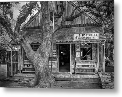 Luckenbach 2 Black And White Metal Print by Scott Norris