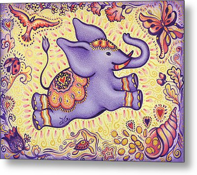 Lucky Elephant Purple Metal Print by Judith Grzimek