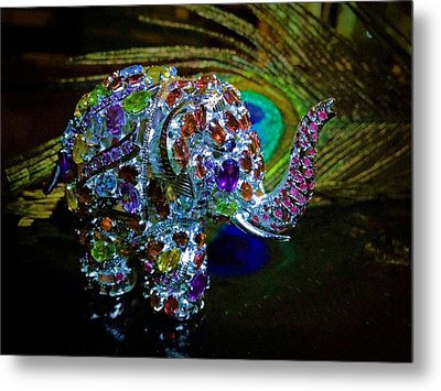 Lucky Jeweled Elephant Metal Print by Susan Maxwell Schmidt