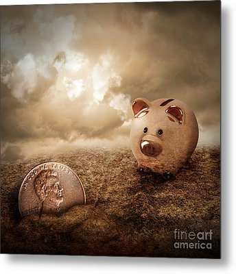 Lucky Piggy Bank Finds Lost Penny In Dirt Metal Print by Angela Waye
