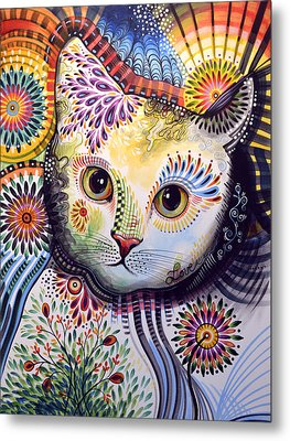 Lucy ... Abstract Cat Art Metal Print
