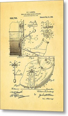 Ludwig Drum And Cymbal Apparatus Patent Art 1909 Metal Print by Ian Monk