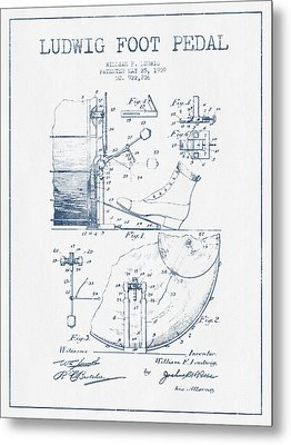 Ludwig Foot Pedal Patent Drawing From 1909 - Blue Ink Metal Print by Aged Pixel