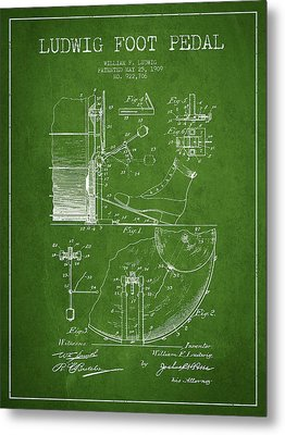 Ludwig Foot Pedal Patent Drawing From 1909 - Green Metal Print by Aged Pixel