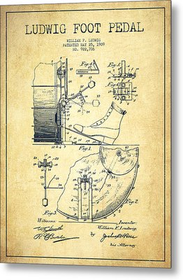 Ludwig Foot Pedal Patent Drawing From 1909 - Vintage Metal Print