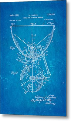 Ludwig Kettle Drum And Timpani Patent Art 1950 Blueprint Metal Print by Ian Monk
