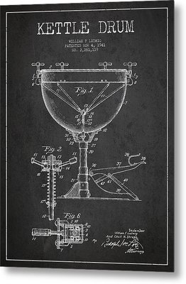 Ludwig Kettle Drum Drum Patent Drawing From 1941 - Dark Metal Print by Aged Pixel