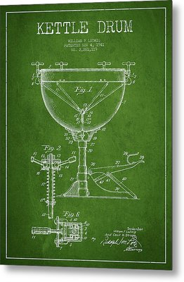 Ludwig Kettle Drum Drum Patent Drawing From 1941 - Green Metal Print by Aged Pixel