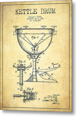 Ludwig Kettle Drum Drum Patent Drawing From 1941 - Vintage Metal Print by Aged Pixel