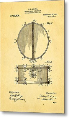 Ludwig Snare Drum Patent Art 1912 Metal Print by Ian Monk