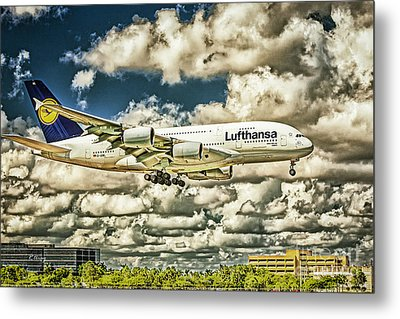 Lost In The Clouds Lufthansa A380 Named Hamburg-colorized Abstract Metal Print