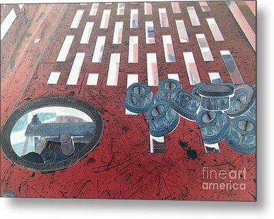 Lug Nuts On Grate And Circle H Metal Print by Heather Kirk