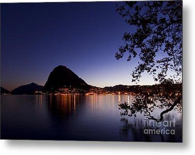 Lugano By Night Metal Print by Maurizio Bacciarini