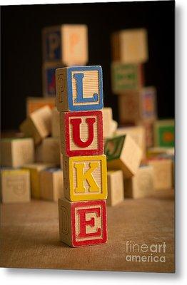 Luke - Alphabet Blocks Metal Print