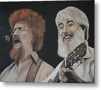 Metal Print featuring the painting Luke Kelly And Ronnie Drew by David Dunne
