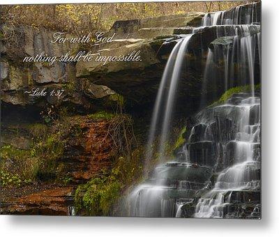 Luke Scripture Waterfall Metal Print by Ann Bridges