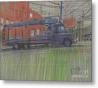 Metal Print featuring the painting Lumber Truck by Donald Maier