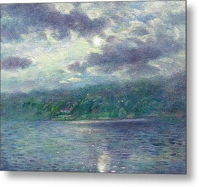 Metal Print featuring the painting Luminous Moon Over Lake by Judith Cheng