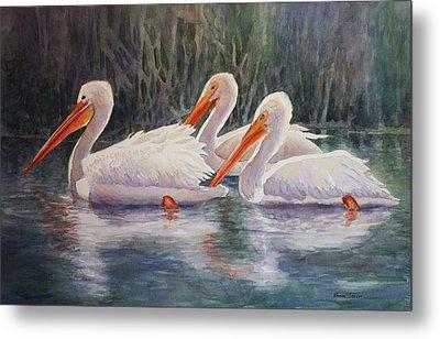 Luminous White Pelicans Metal Print by Roxanne Tobaison