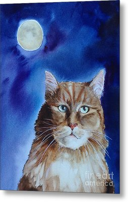 Lunar Cat Metal Print by Kym Stine