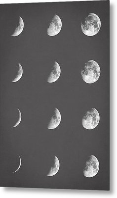 Lunar Phases Metal Print by Taylan Apukovska