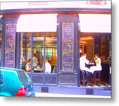 Lunch Time At The Cafe St Regis In Paris Metal Print by Jan Matson