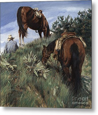 Lunch Top Of The Mountain At Jackson Hole Metal Print by Don  Langeneckert