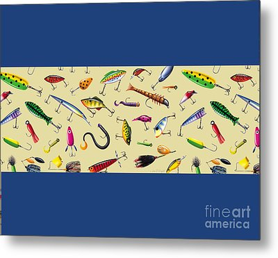 Lures Pillow Sham And Square Metal Print by Jon Q Wright