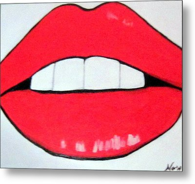 Metal Print featuring the painting Luscious Lips by Nora Shepley