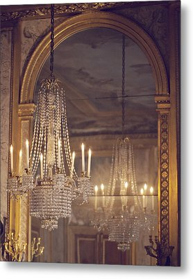 Lustre De Fontainebleau - Paris Chandelier Metal Print