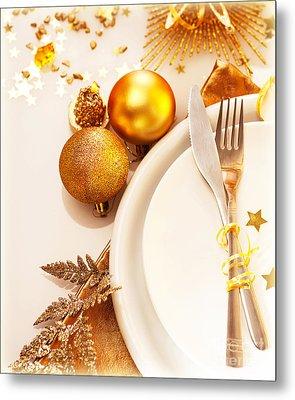 Luxury Christmas Table Setting Metal Print by Anna Om