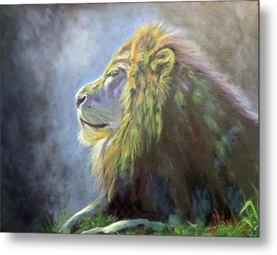 Lying In The Moonlight, Lion Metal Print