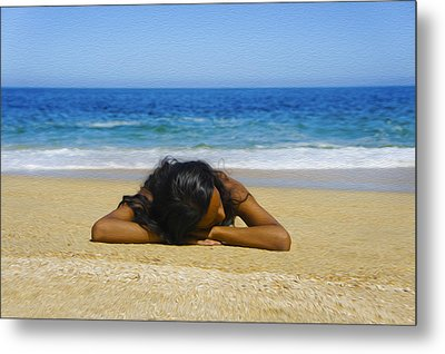 Lying On The Beach Metal Print by Aged Pixel
