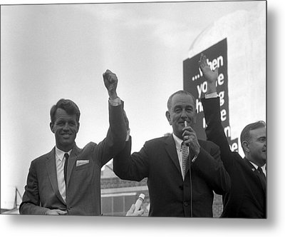 Lyndon Johnson With Robert Kennedy Metal Print by War Is Hell Store