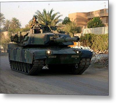 M1 Abrams Tank Urban Patrol Metal Print