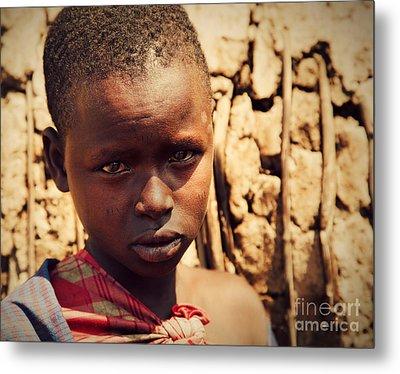Maasai Child Portrait In Tanzania Metal Print by Michal Bednarek