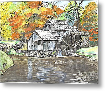 Metal Print featuring the painting Mabry Grist Mill In Virginia Usa by Carol Wisniewski